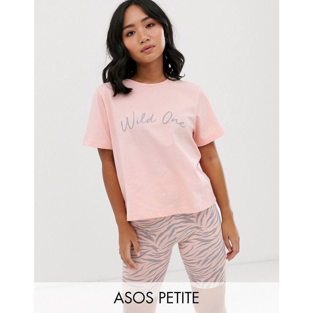 エイソス ASOS Petite レディース インナー・下着 パジャマ・上下セット【ASOS DESIGN Petite wild one t-shirt & legging short set】Peach