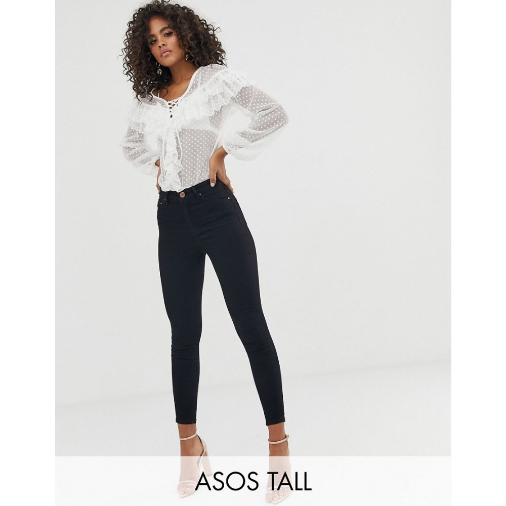 エイソス ASOS Tall レディース インナー・下着 ボディースーツ【ASOS DESIGN Tall lace up ruffle body in dobby mesh】Ecru