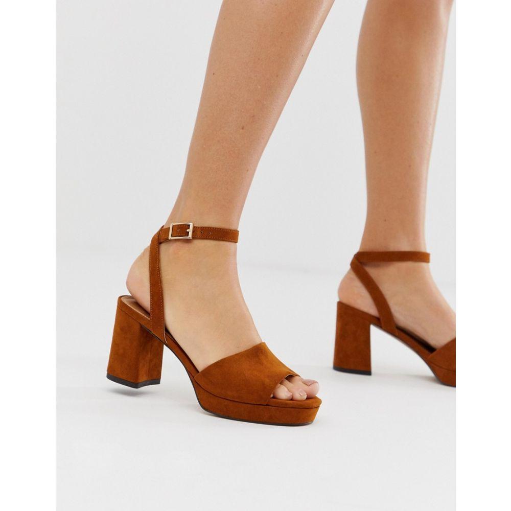 エイソス ASOS DESIGN レディース シューズ・靴 サンダル・ミュール【Hockey platform heeled sandals in chestnut】Chesnut