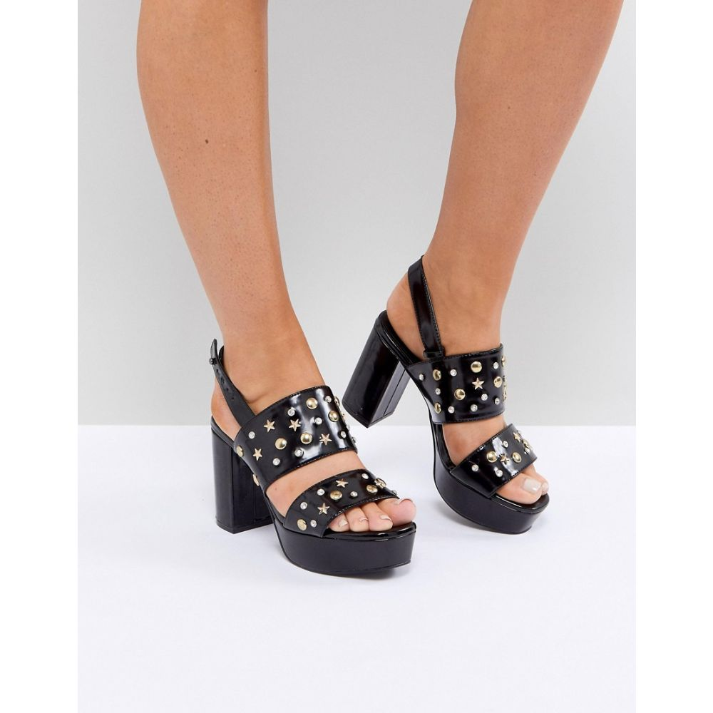 モンキー Monki レディース シューズ・靴 サンダル・ミュール【Star Stud Patent Platform Sandals】Black with studs