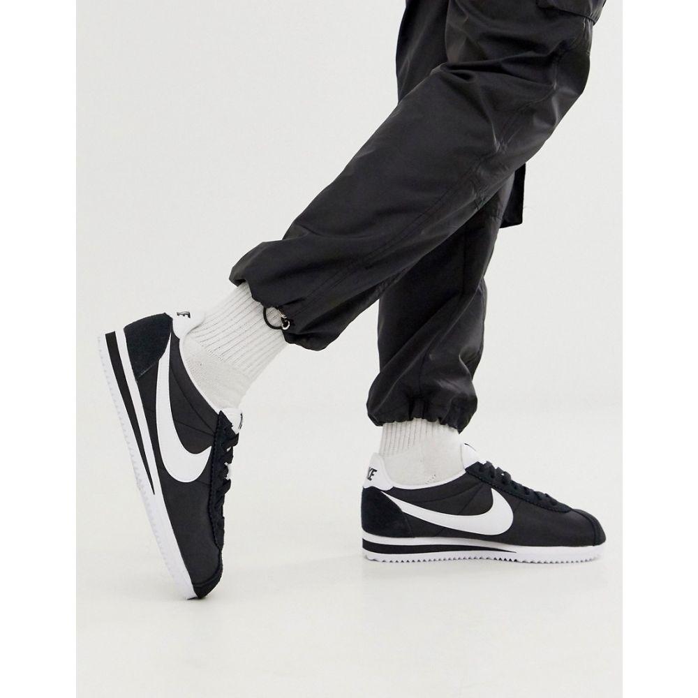 ナイキ Nike レディース シューズ・靴 スニーカー【black and white classic Cortez nylon trainers】Black/white