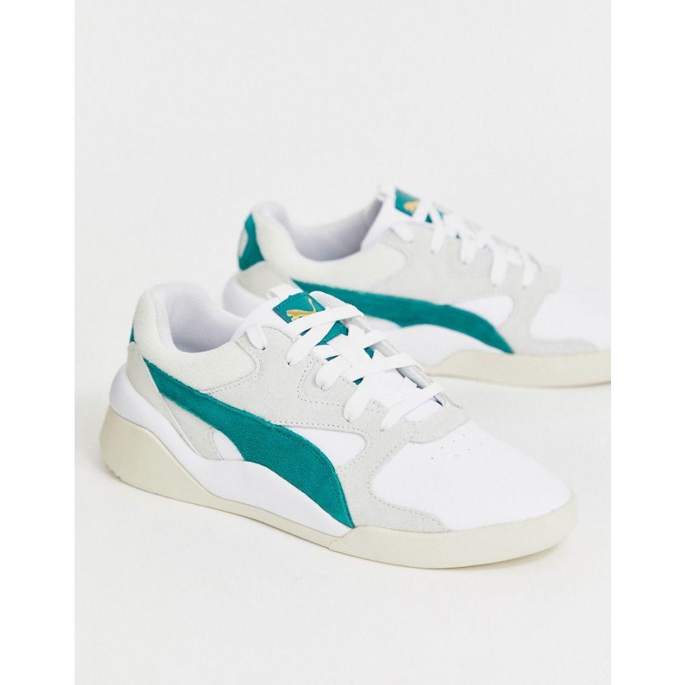 プーマ Puma レディース シューズ・靴 スニーカー【Aeon Heritage white and green trainers】Puma white-teal gree