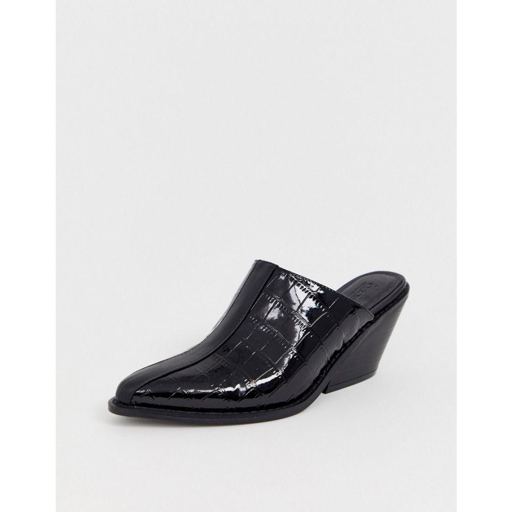 エイソス ASOS DESIGN レディース シューズ・靴 サンダル・ミュール【Scarlett western mid-heeled mules in black croc】Black paten