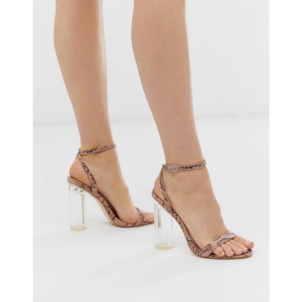 パブリックディザイア Public Desire レディース シューズ・靴 サンダル・ミュール【snakeskin barely there sandal with clear heel】Col snake