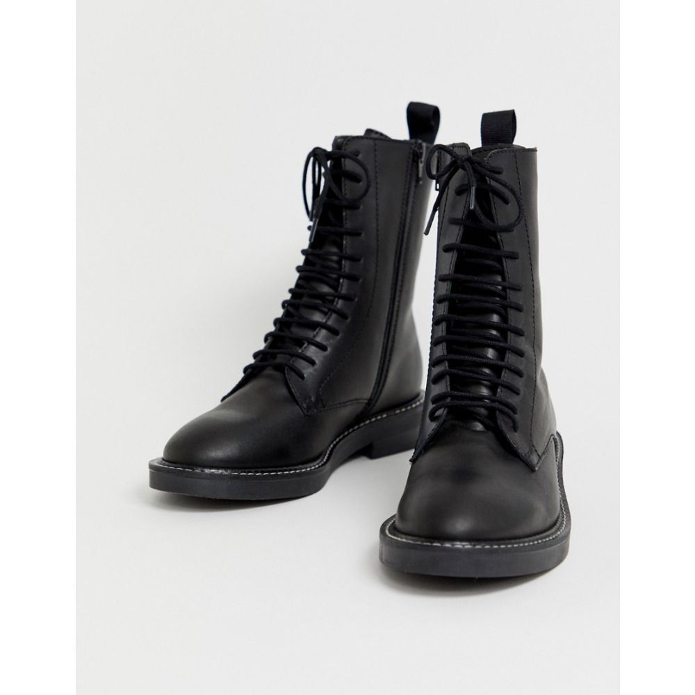 エイソス ASOS DESIGN レディース シューズ・靴 ブーツ【Alarm leather lace up boots】Black leather