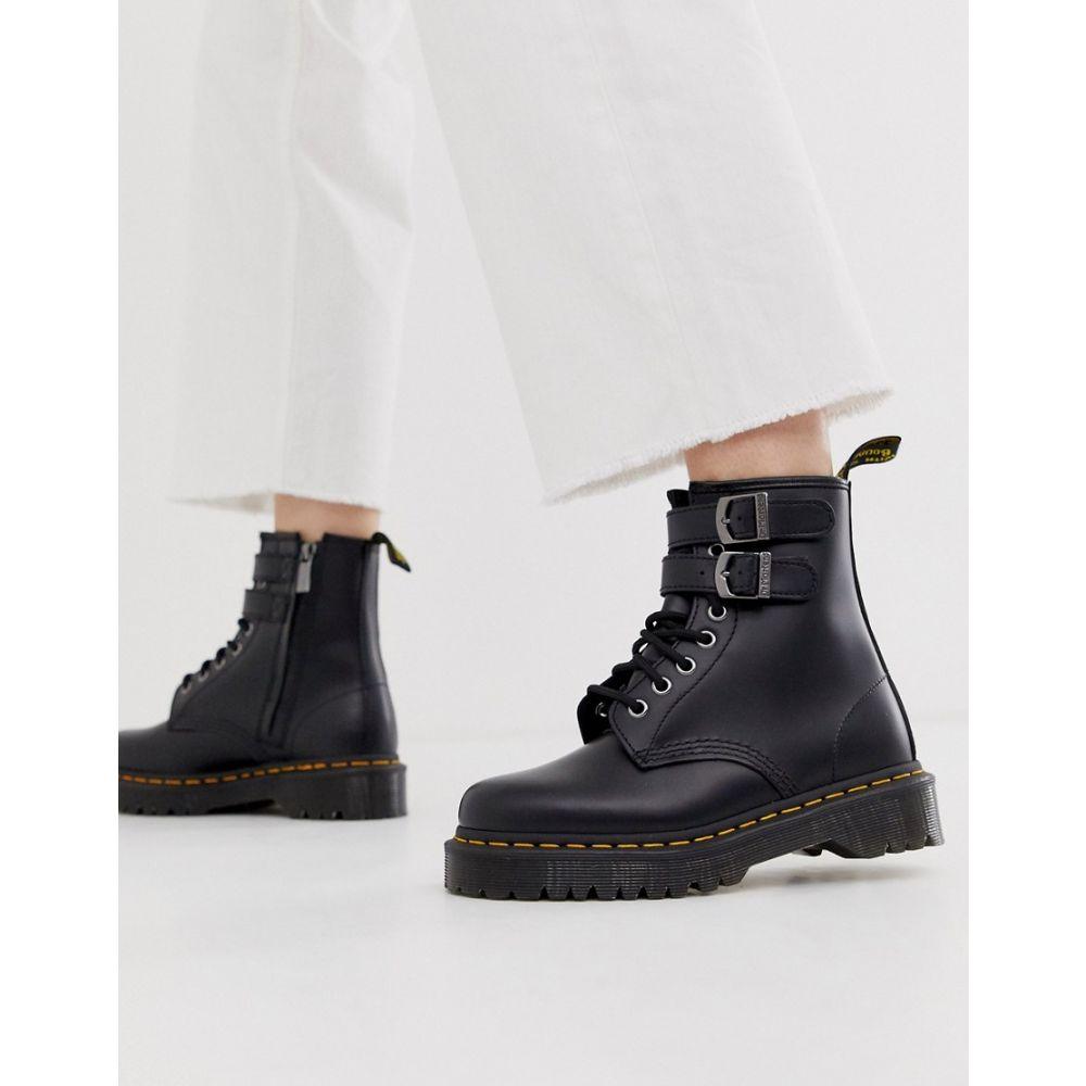 ドクターマーチン Dr Martens レディース シューズ・靴 ブーツ【chunky buckle boots in black leather】Black smooth