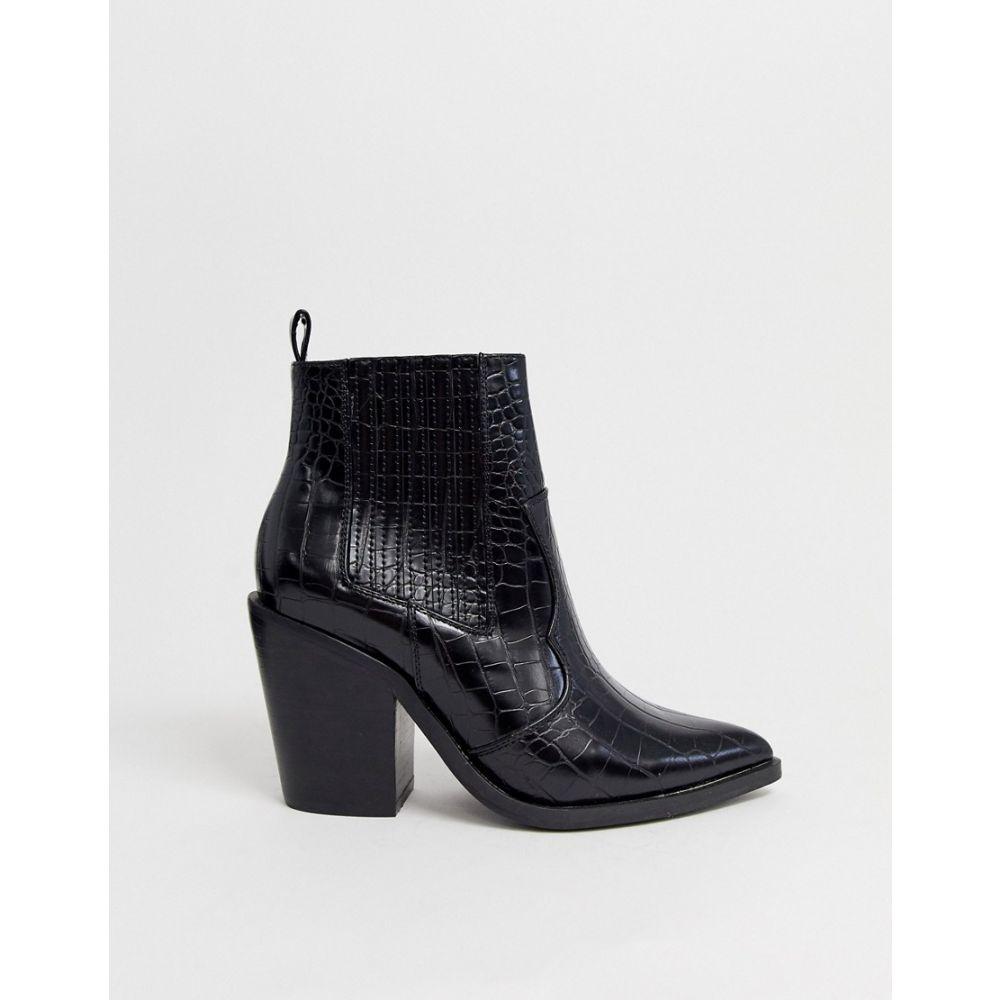 エイソス ASOS DESIGN レディース シューズ・靴 ブーツ【Elliot western boots in black croc】Black croc