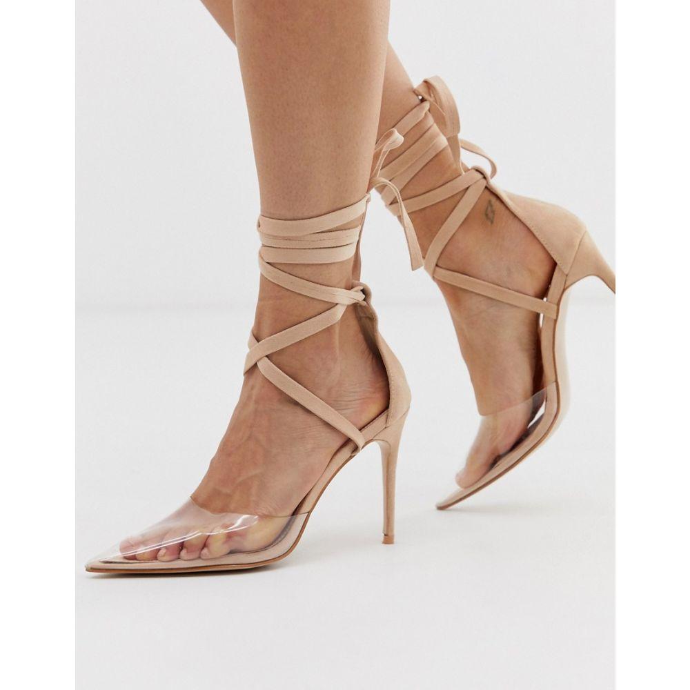パブリックディザイア Public Desire レディース シューズ・靴 ヒール【Devote beige ankle tie pointed heeled shoes】Nude micro