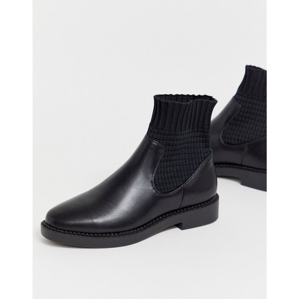 エイソス ASOS DESIGN レディース シューズ・靴 ブーツ【Anna chunky sock boots in black】Black knit