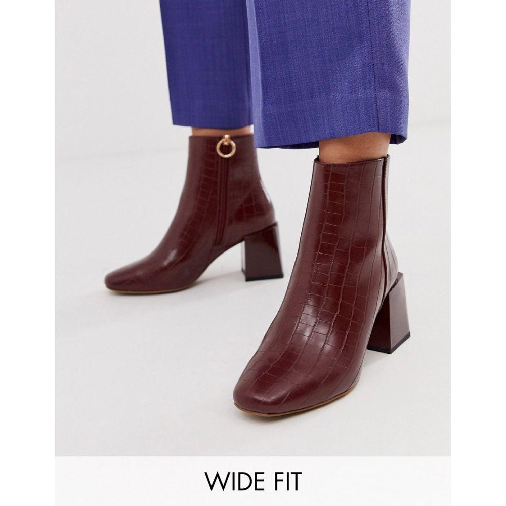 エイソス ASOS DESIGN レディース シューズ・靴 ブーツ【Wide Fit Reed heeled ankle boots in brown croc】Brown croc
