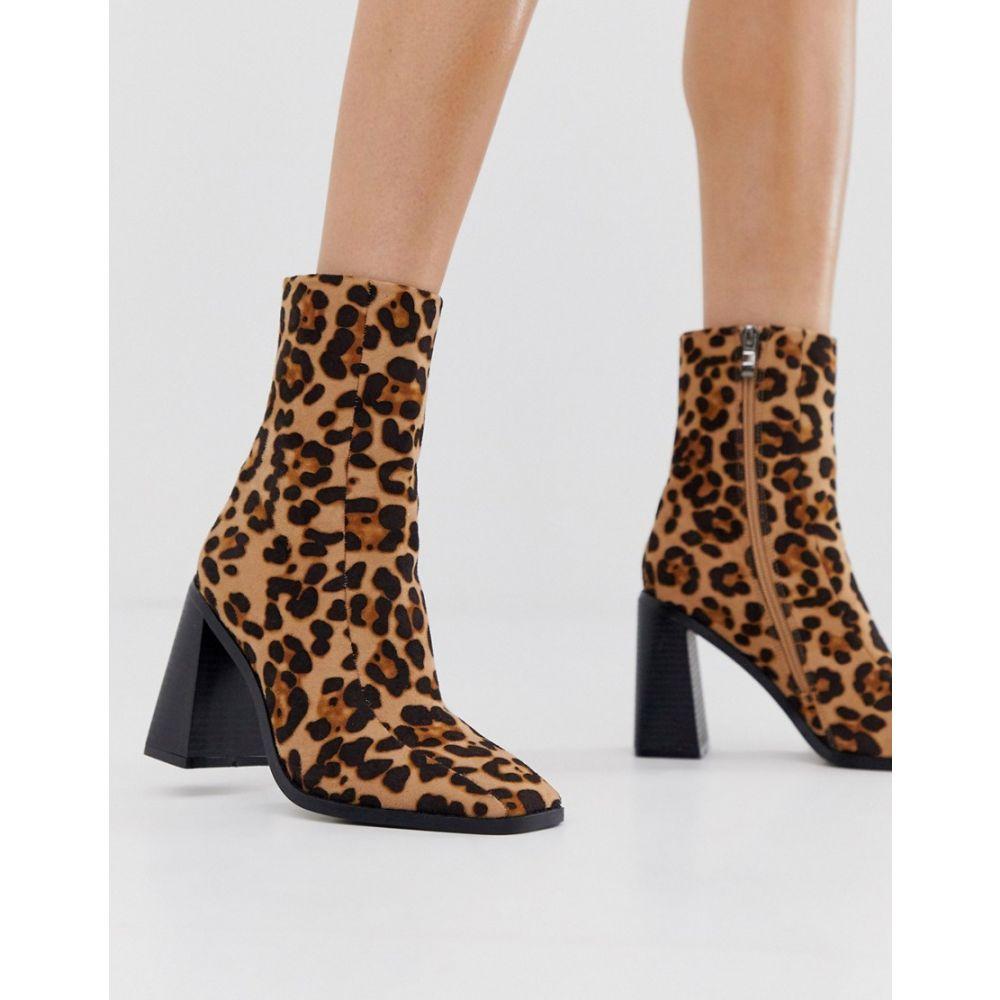 プリティリトルシング PrettyLittleThing レディース シューズ・靴 ブーツ【block heel sock boots in leopard】Multi