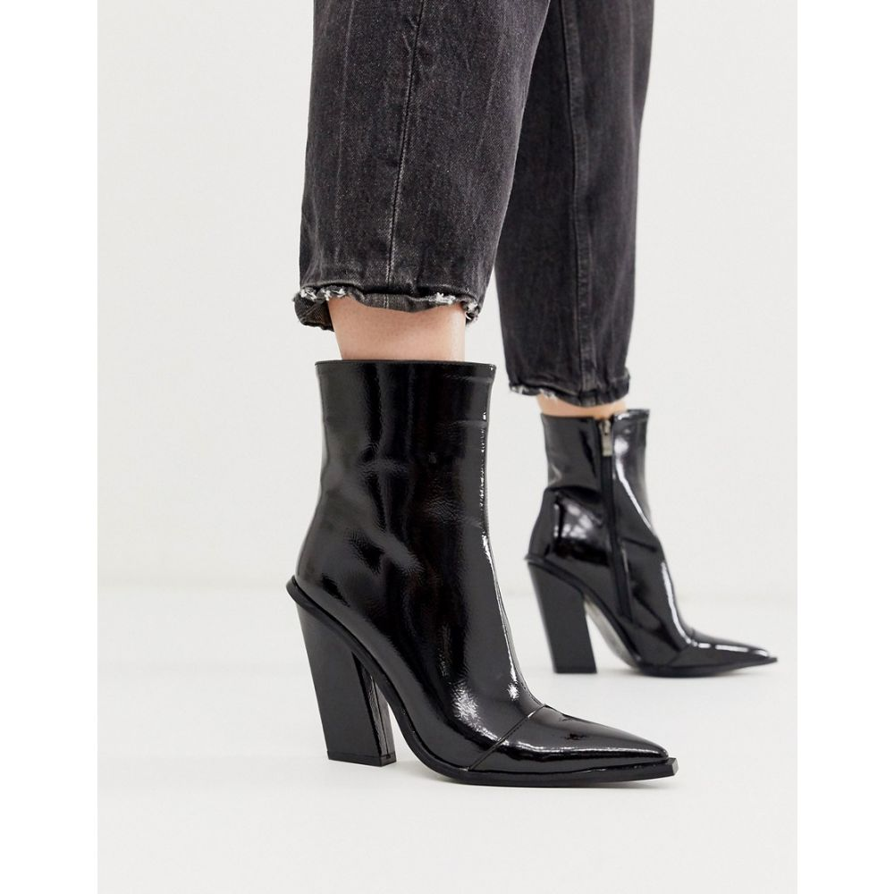 プリティリトルシング PrettyLittleThing レディース シューズ・靴 ブーツ【western ankle boot in black patent】Black