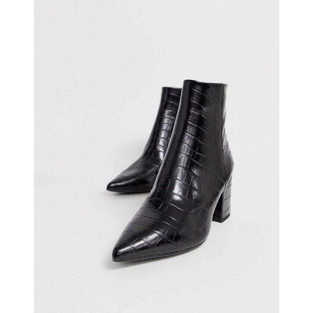 ニュールック New Look レディース シューズ・靴 ブーツ【pointed block heeled boots in black croc】Black