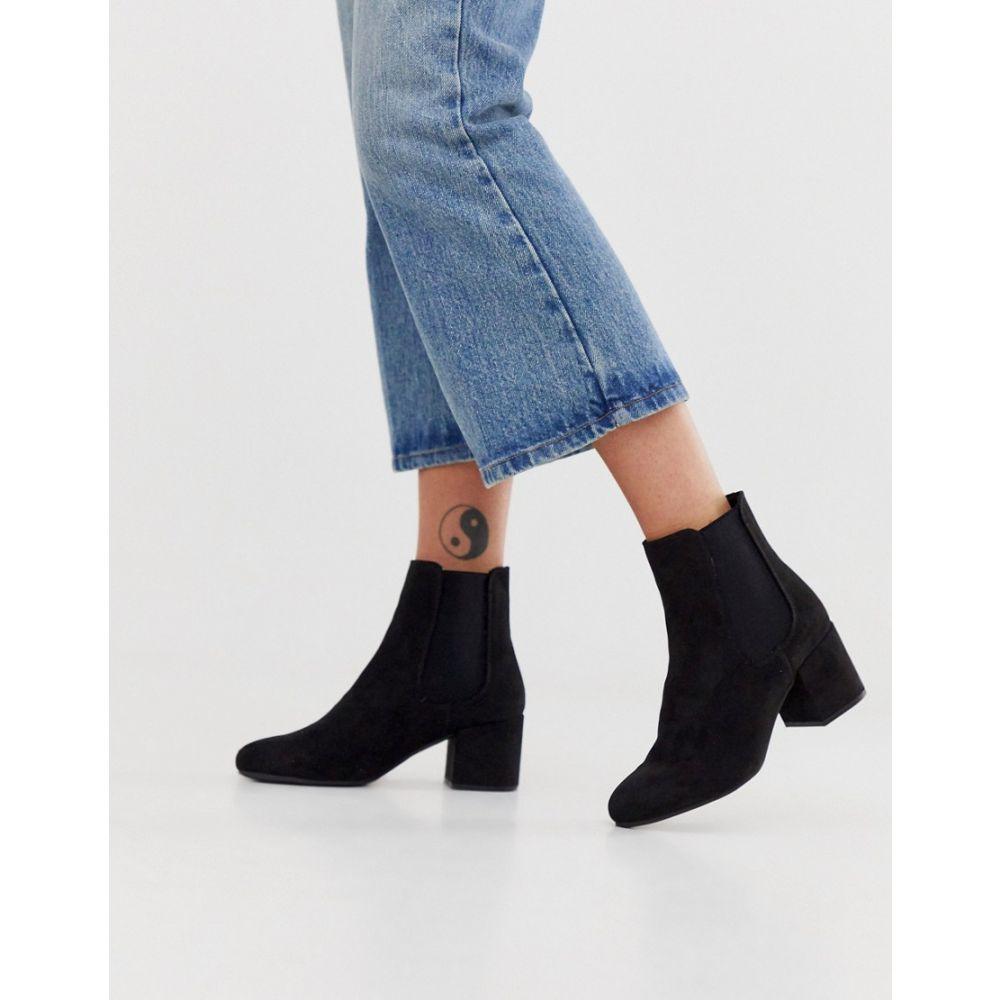 ニュールック New Look レディース シューズ・靴 ブーツ【faux suede heeled chelsea boots in black】Black
