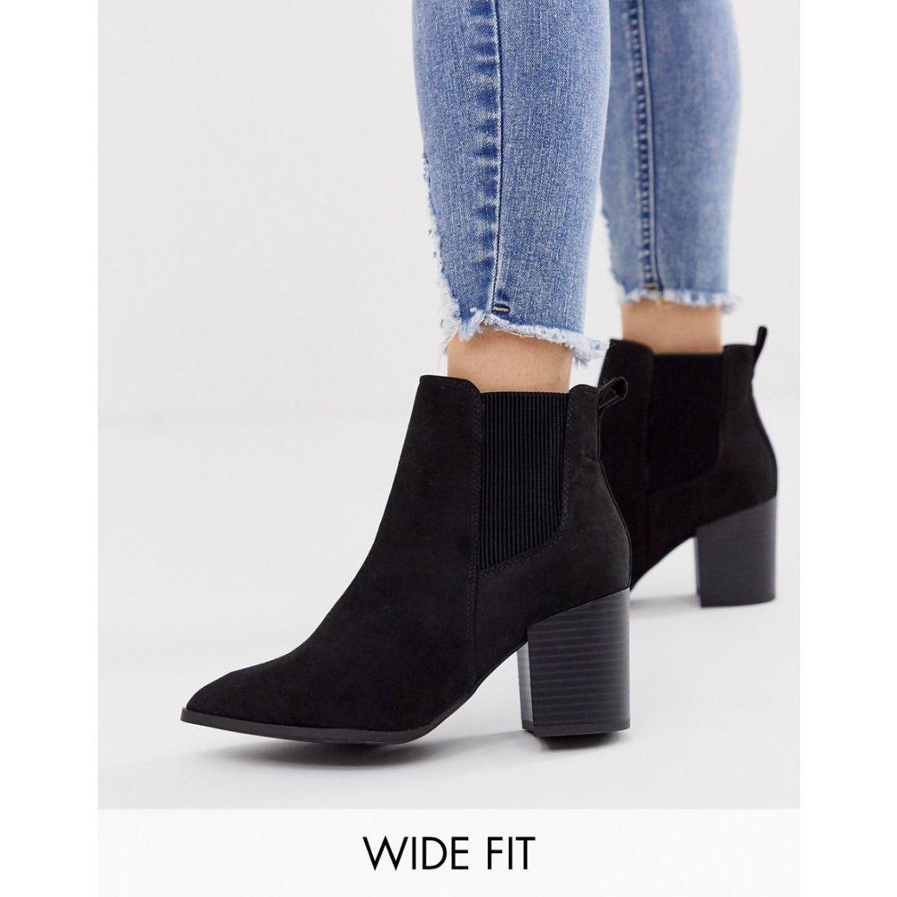 ニュールック New Look Wide Fit レディース シューズ・靴 ブーツ【faux suede heeled chelsea boots in black】Black
