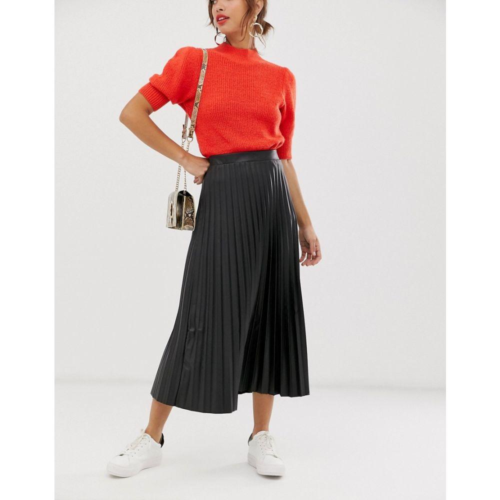 エイソス ASOS DESIGN レディース スカート ひざ丈スカート【leather look pleated midi skirt】Black