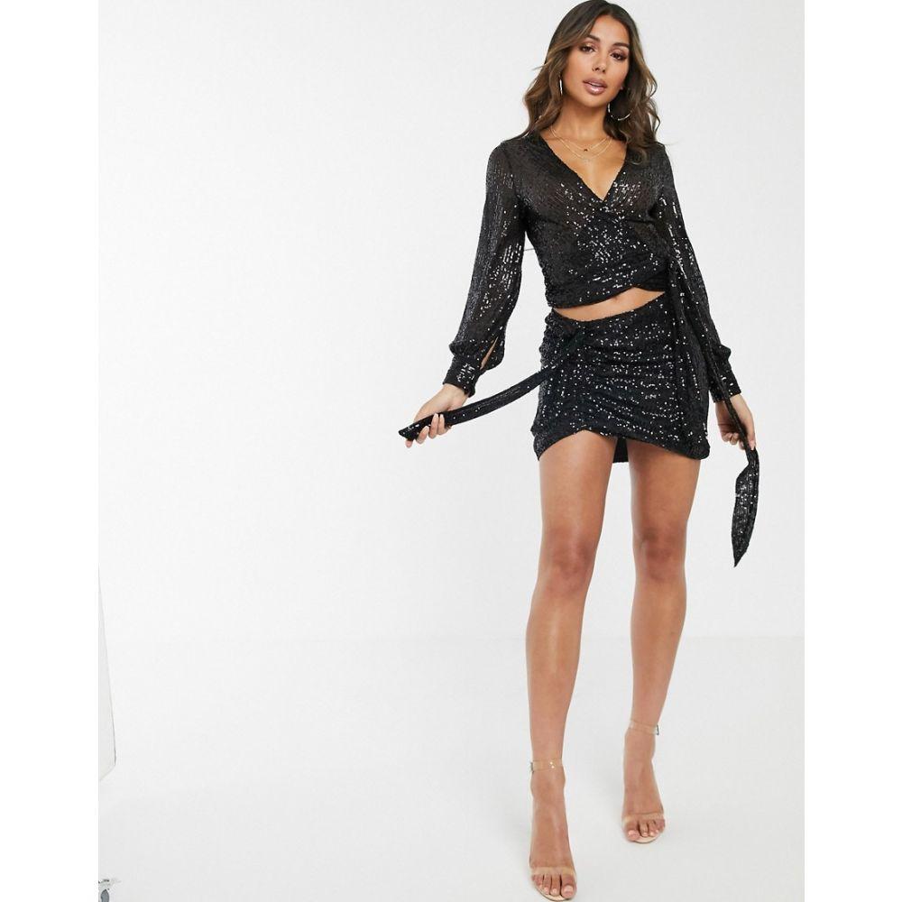 ライオネス Lioness レディース スカート ミニスカート【sequin ruched tie side mini skirt in black】Black