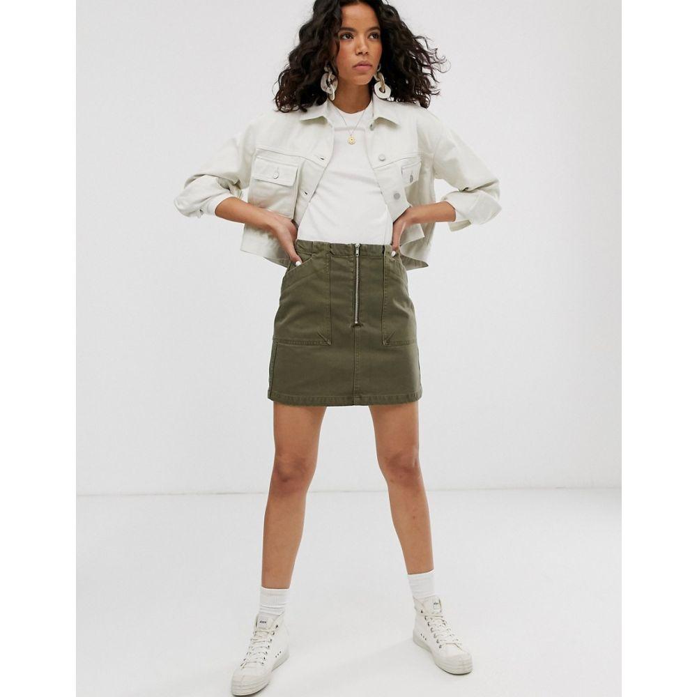 ウィークデイ レディース スカート ミニスカート Khaki 【サイズ交換無料】 ウィークデイ Weekday レディース スカート ミニスカート【zip front mini denim skirt with oversized pockets in khaki】Khaki