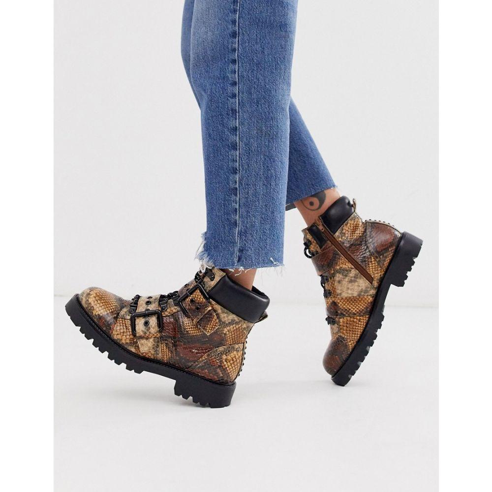 エイソス ASOS DESIGN レディース ハイキング・登山 シューズ・靴【Avenue hiker boots in snake】Snake