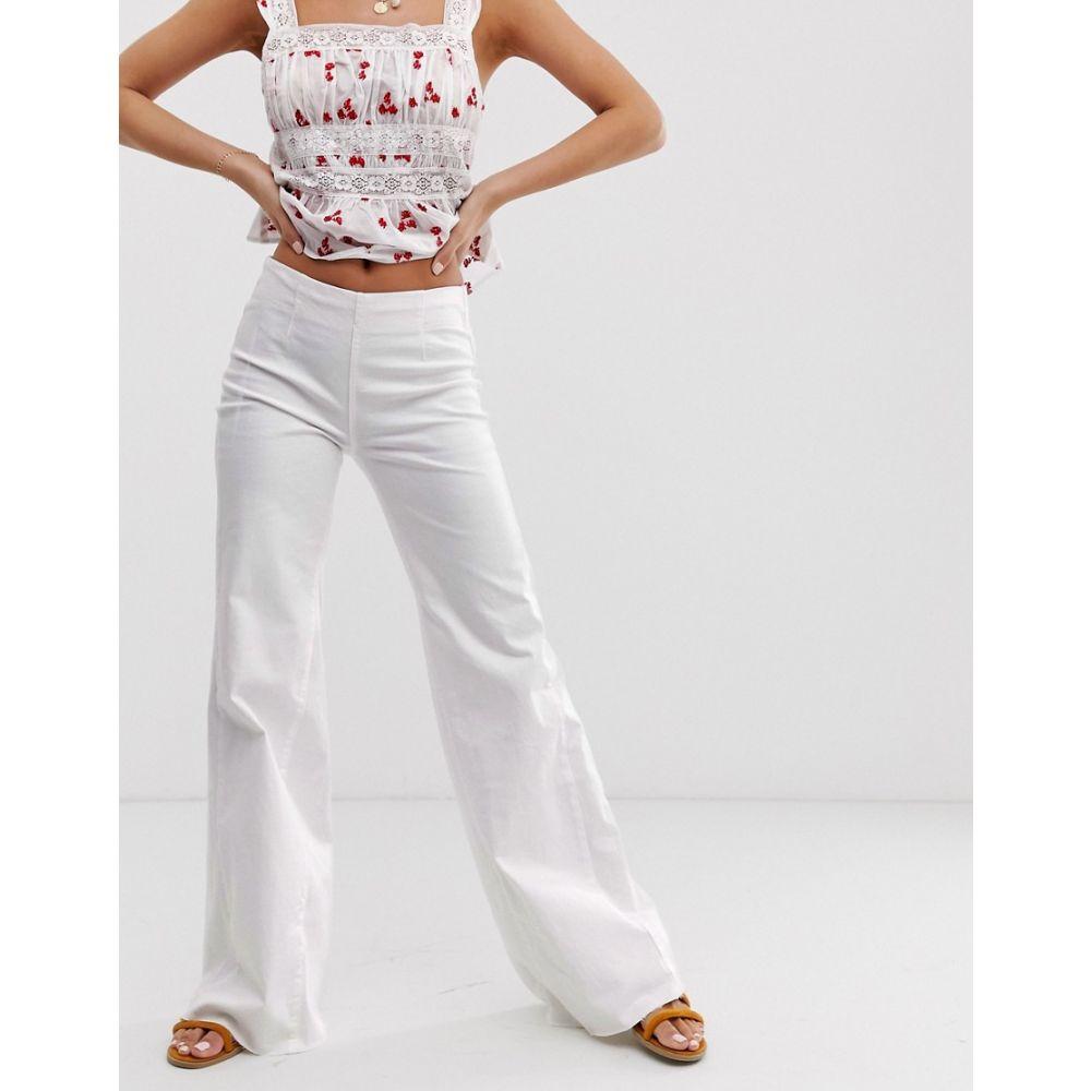 今季一番 フリーピープル Free People レディース ボトムス・パンツ ジーンズ・デニム【Drapey wide leg jeans】White, グラスゴー 15c8ac60