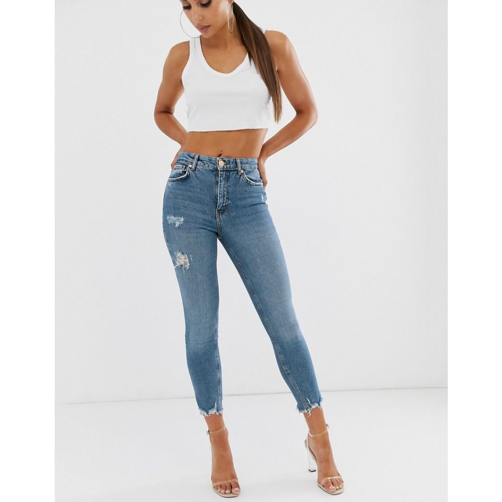 リバーアイランド River Island レディース ボトムス・パンツ ジーンズ・デニム【skinny jeans with ripped hem in mid wash】Mid auth
