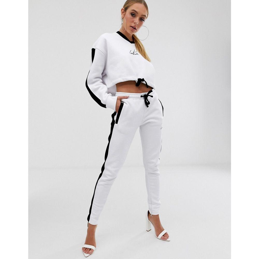ザ クチュール クラブ The Couture Club レディース ボトムス・パンツ ジョガーパンツ【tapered contrast jogger in white】White