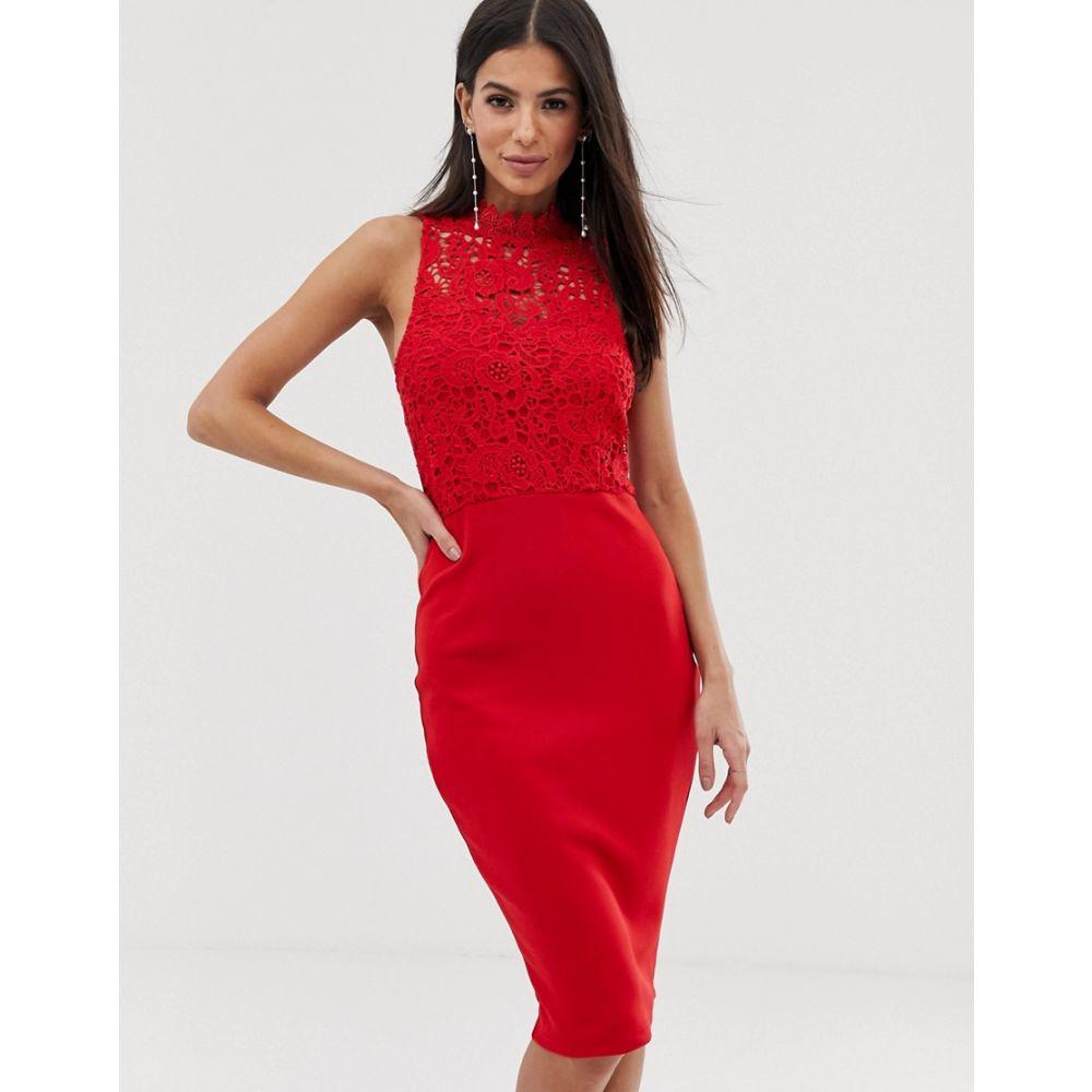 アックスパリス AX Paris レディース ワンピース・ドレス ボディコンドレス【lace top bodycon dress】Red