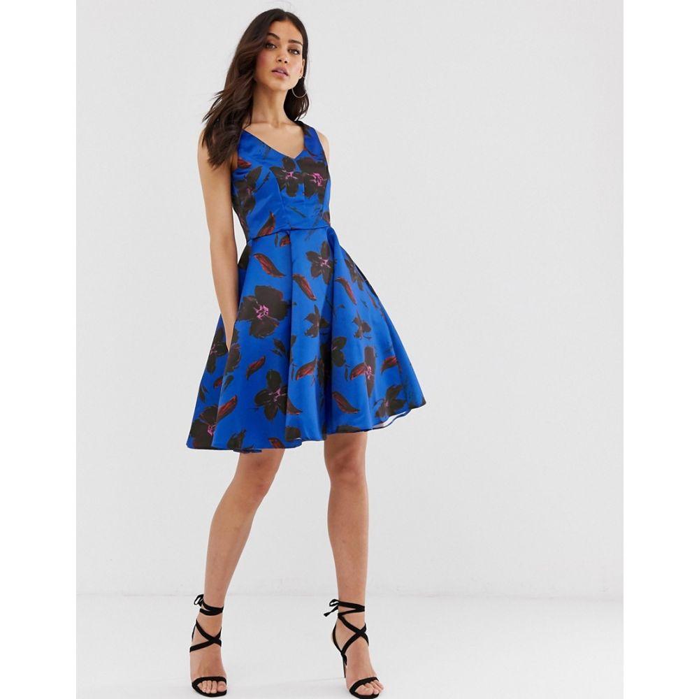 クローゼットロンドン Closet London レディース ワンピース・ドレス ワンピース【Closet v neck full skirt dress】Blue