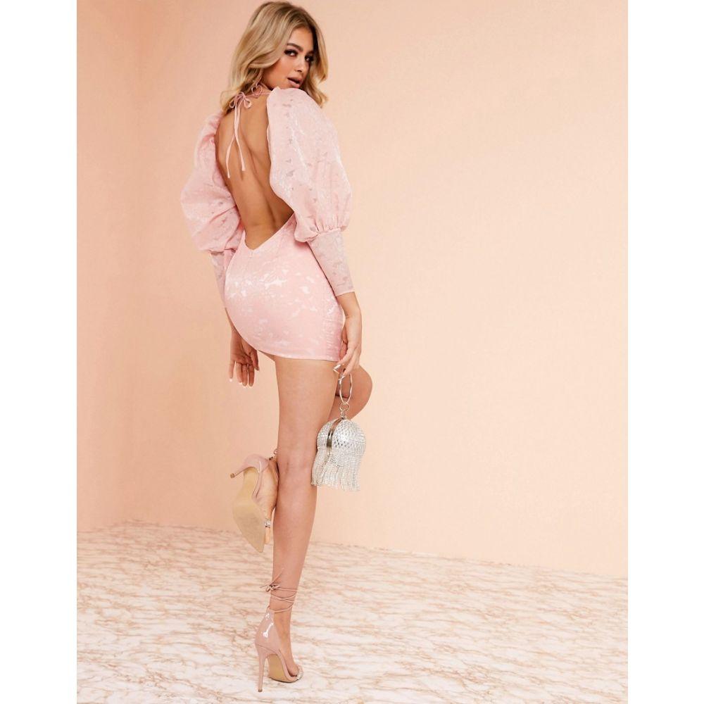 エイソス ASOS DESIGN レディース ワンピース・ドレス ワンピース【Luxe milkmaid mini dress in jacqaurd print】Pink