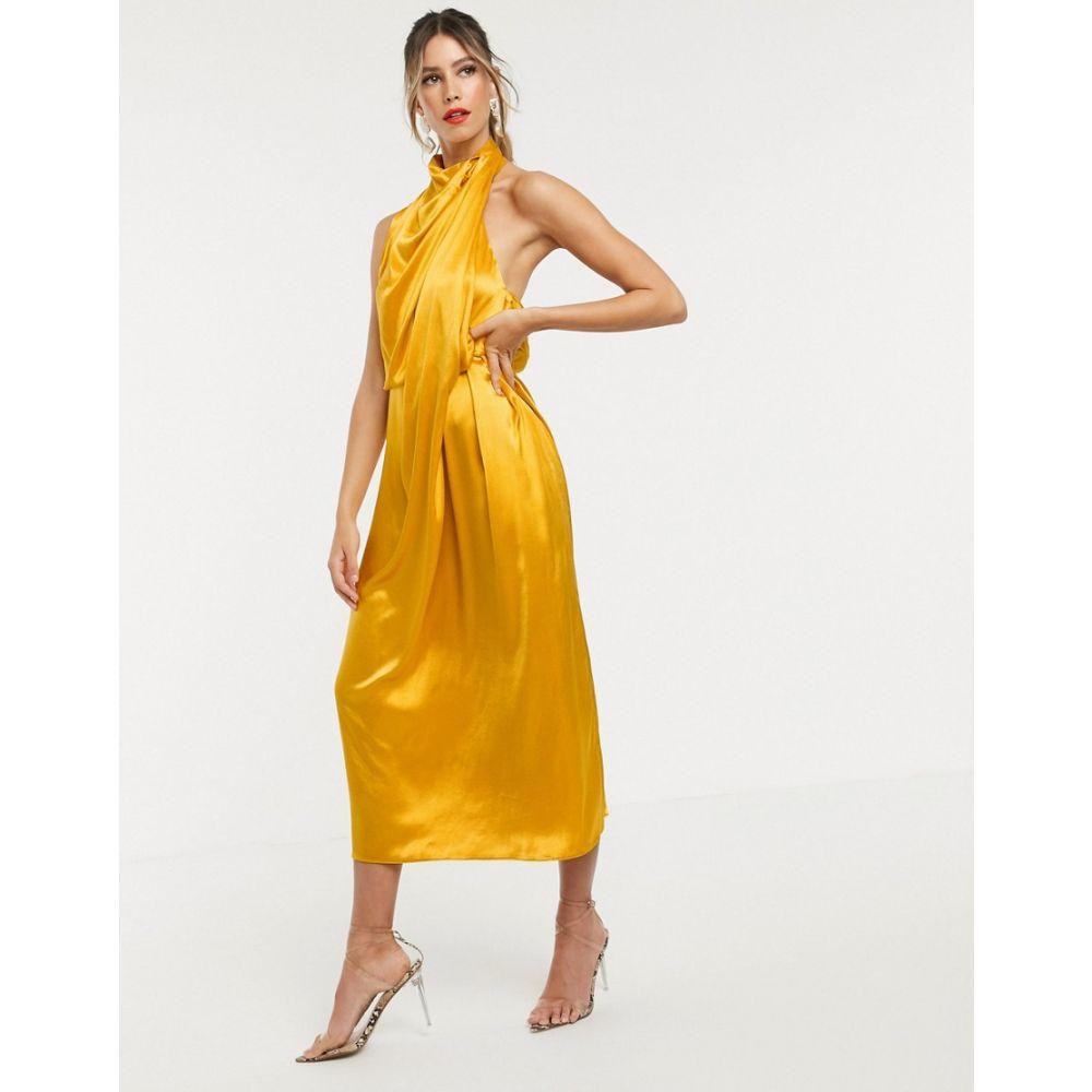 エイソス ASOS EDITION レディース ワンピース・ドレス ワンピース【drape midi dress with open back】Gold