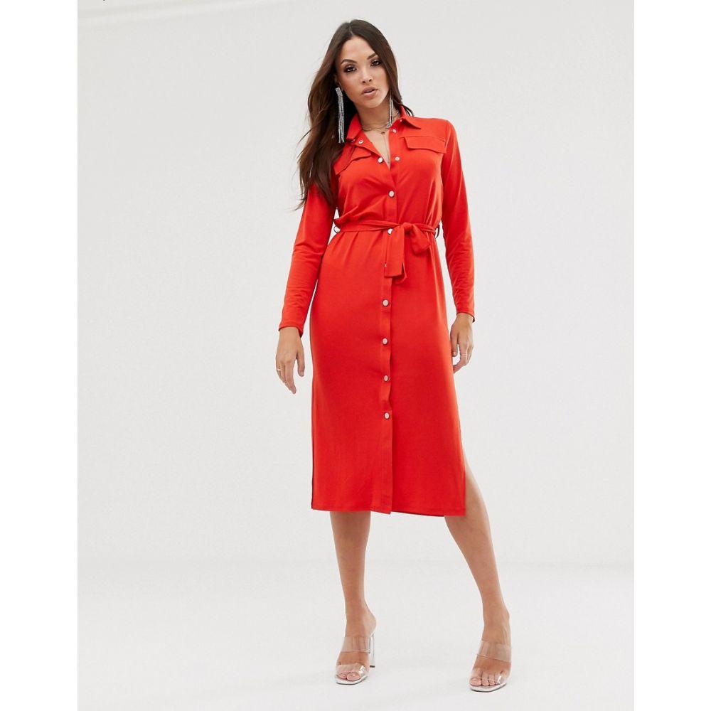 エイソス ASOS DESIGN レディース ワンピース・ドレス ワンピース【midi belted shirt dress】Red