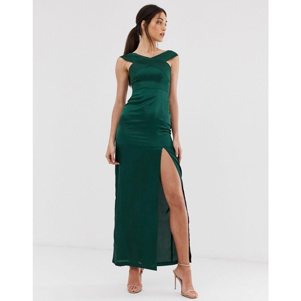 アックスパリス AX Paris レディース ワンピース・ドレス ワンピース【satin bardot maxi dress with slit】Green