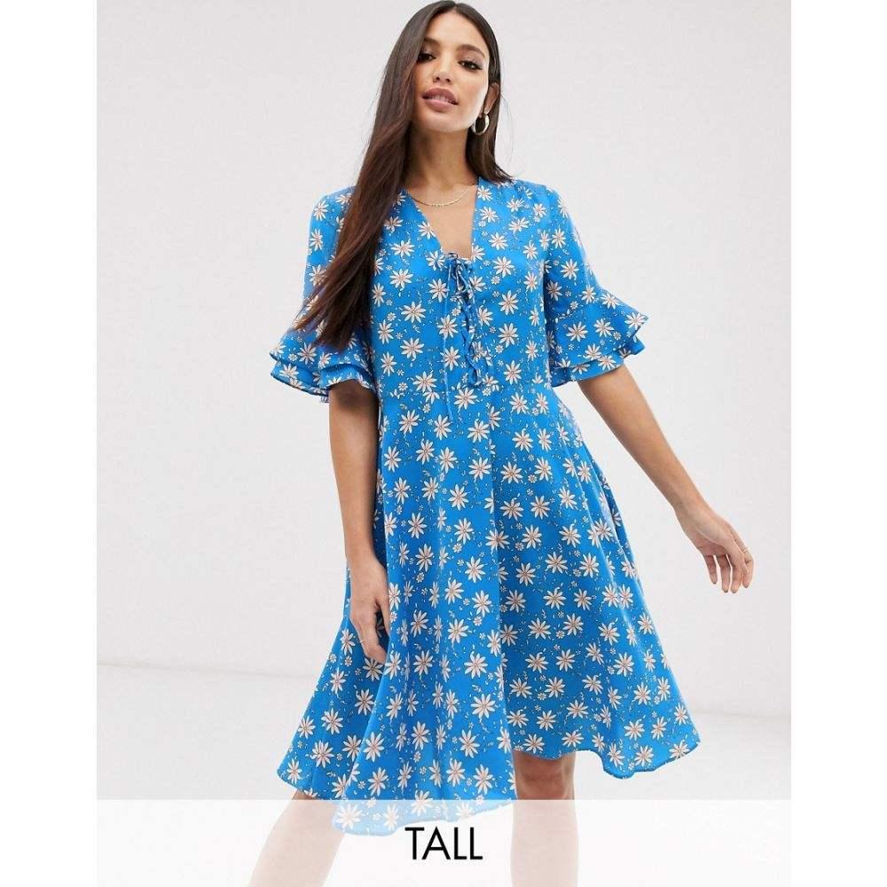 ワイ エー エス Y.A.S Y.A.S Tall レディース ワンピース・ドレス ワンピース レディース tea【printed tea dress】Blue, BEBE FASHION:6fceac1f --- avtozvuka.ru