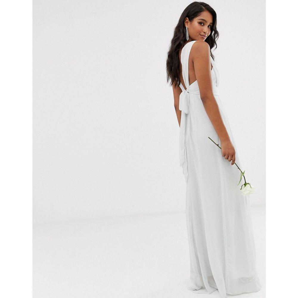 メイドトゥーメジャー Maids to Measure レディース ワンピース・ドレス ワンピース【bridesmaid maxi dress with bow back detail】Grey
