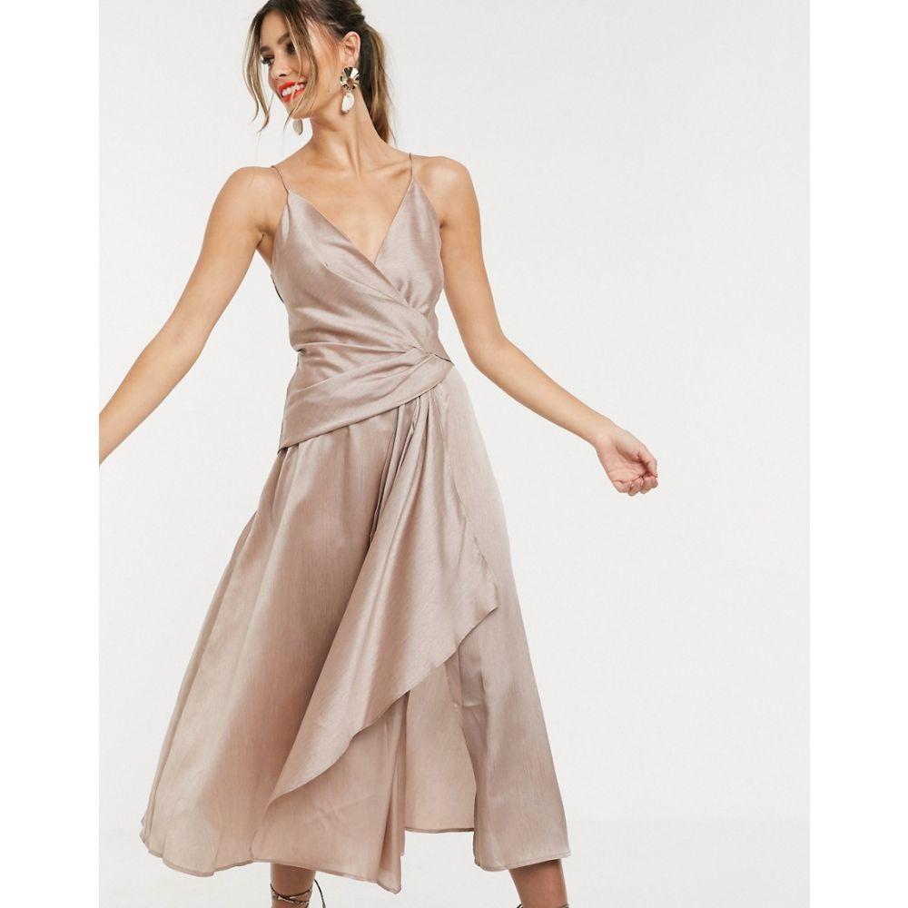 エイソス ASOS DESIGN レディース ワンピース・ドレス ワンピース【textured wrap cami midi dress with drape asymmetric detail】Taupe