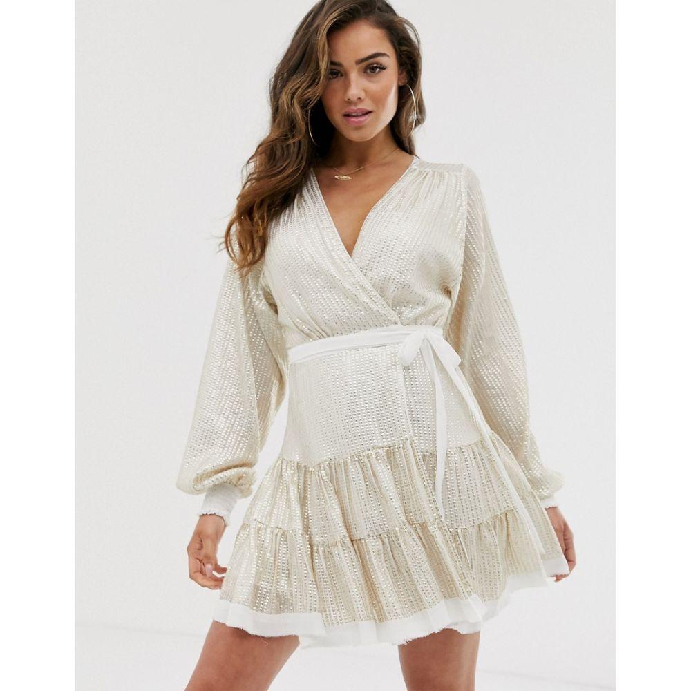 エイソス ASOS DESIGN レディース ワンピース・ドレス ワンピース【embellished mini dress in all over sequin with skater skirt】White