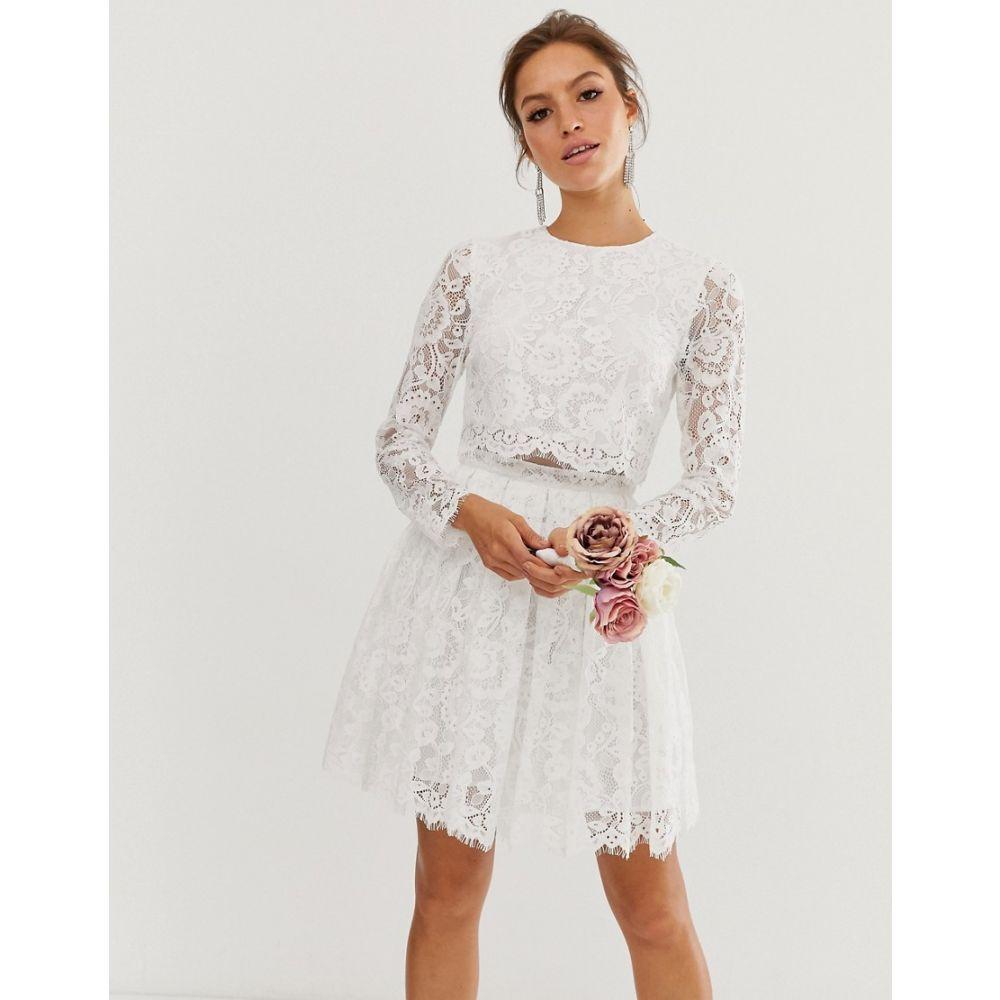エイソス ASOS EDITION レディース ワンピース・ドレス ワンピース【crop top lace mini wedding dress】Ivory