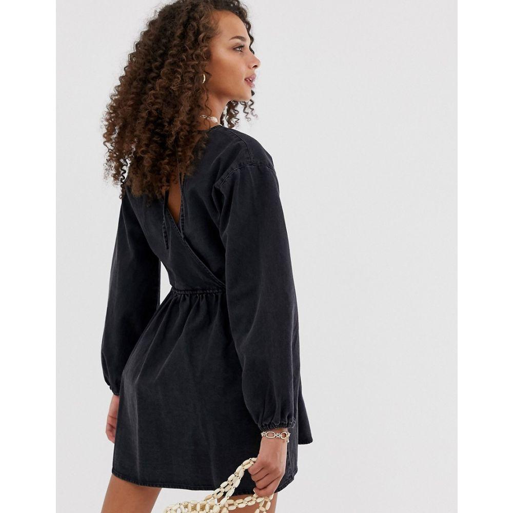 エイソス ASOS DESIGN レディース ワンピース・ドレス ワンピース denim wrap smock mini dress in black BlackbY7mf6ygIv