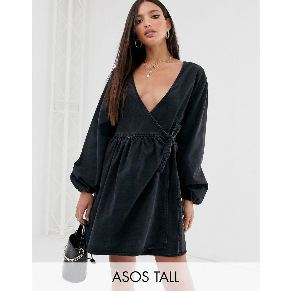 エイソス ASOS Tall レディース ワンピース・ドレス ワンピース【ASOS DESIGN Tall denim wrap smock mini dress in black】Black