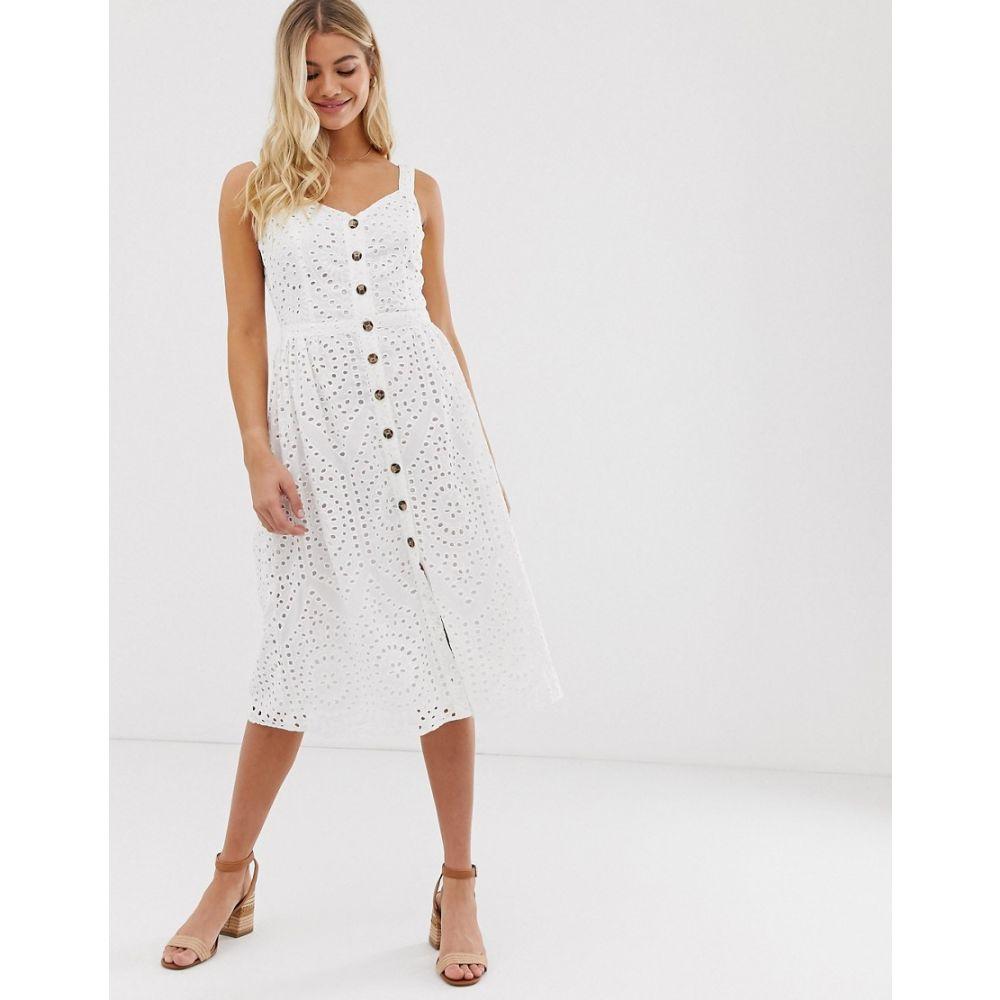 オアシス Oasis レディース ワンピース・ドレス ワンピース【broderie midi dress with button through in white】White