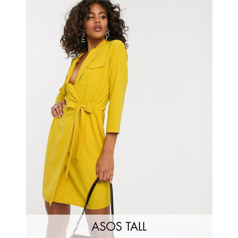 エイソス ASOS Tall レディース ワンピース・ドレス ワンピース【ASOS DESIGN Tall utility mini tux dress】Ochre