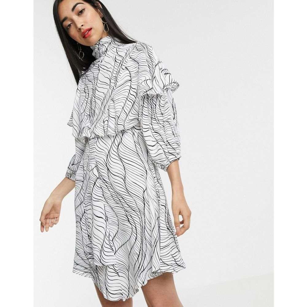 エイソス ASOS DESIGN レディース ワンピース・ドレス ワンピース【ASOS WHITE linear print frill dress】White