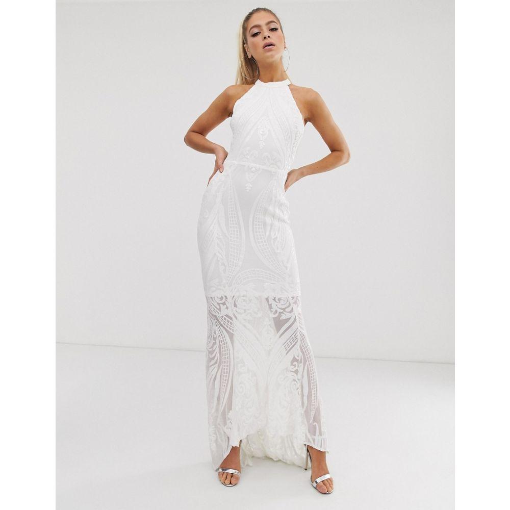 クラブエル ロンドン Club L London レディース ワンピース・ドレス ワンピース【sequin cut away maxi dress】White