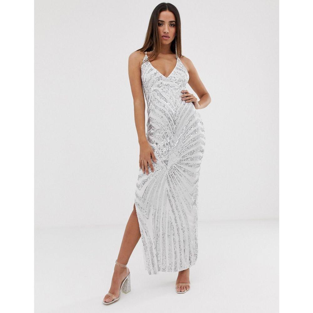 クラブエル ロンドン Club L London レディース ワンピース・ドレス ワンピース【Club L patterned sequin maxi dress】Silver