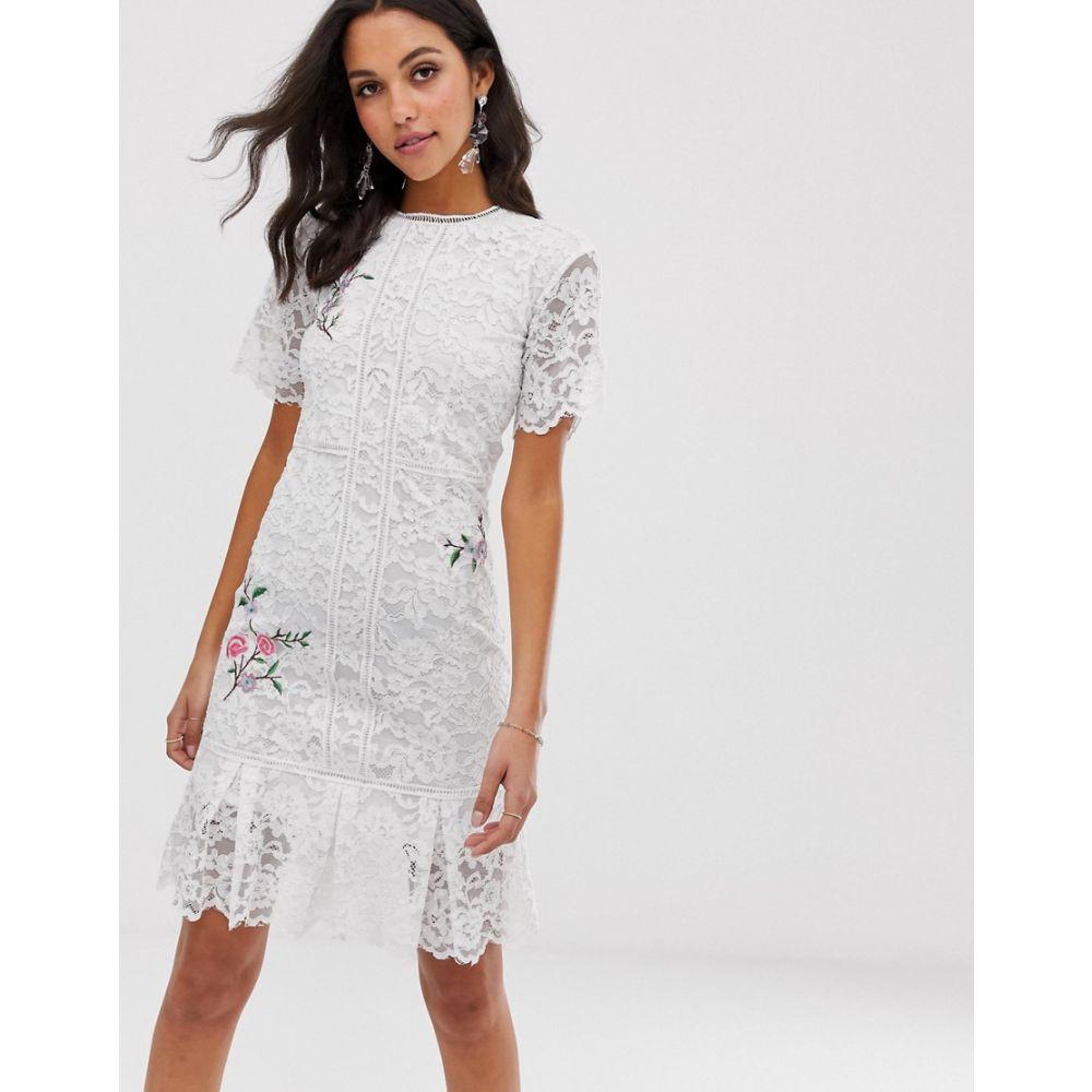 リカリッシュ Liquorish レディース ワンピース・ドレス ワンピース【lace midi dress with floral embroidery】White