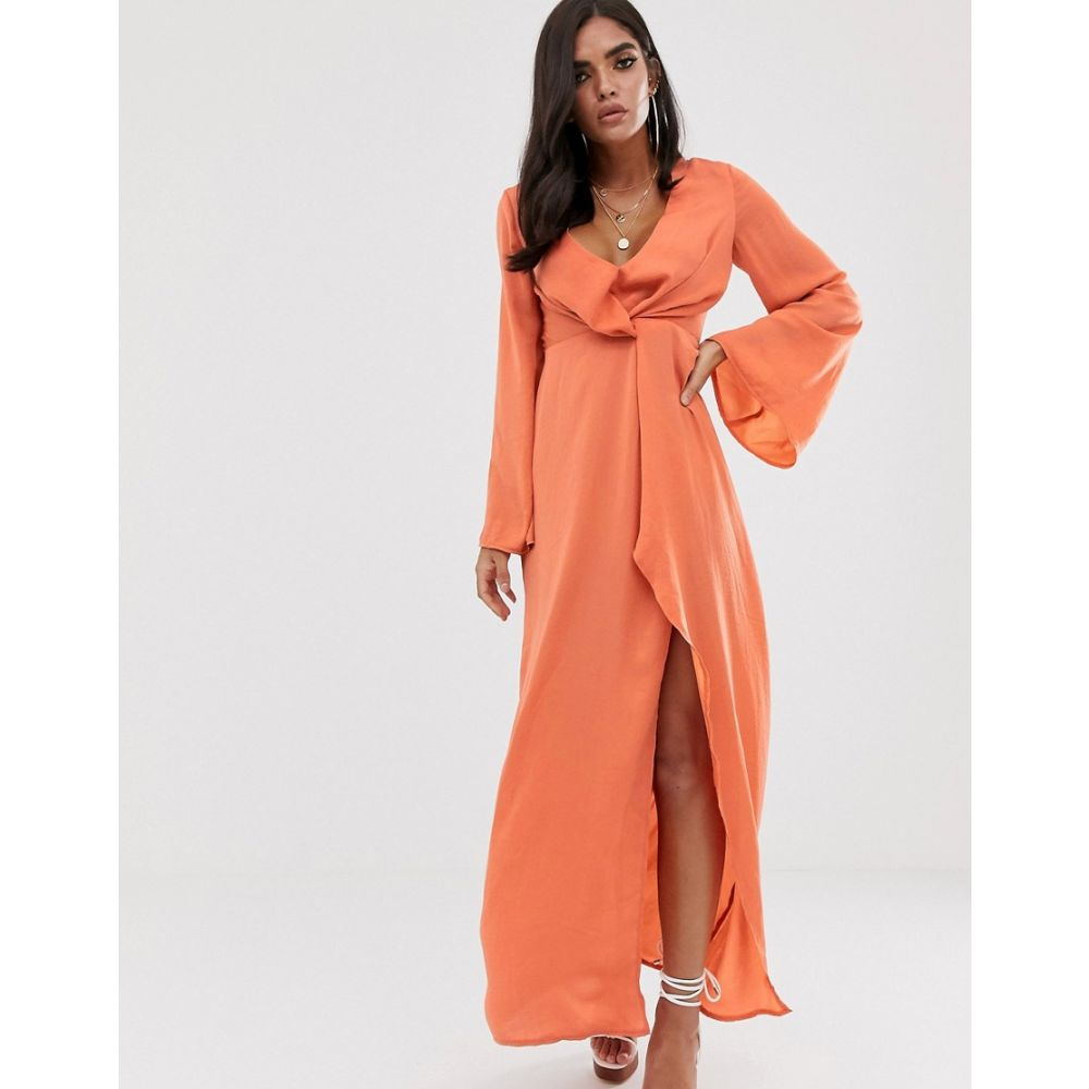 ミスガイデッド Missguided レディース ワンピース・ドレス ワンピース【satin maxi dress with twist detail and side split in peach】Peach