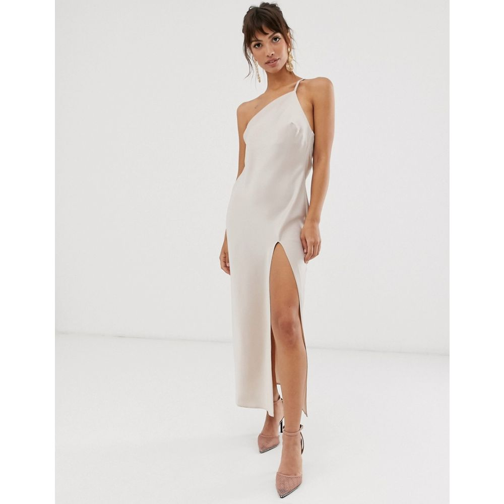 エイソス ASOS DESIGN レディース ワンピース・ドレス ワンピース【one shoulder midaxi dress in satin with drape back】Oyster