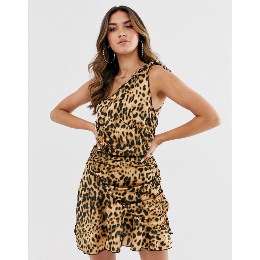 ミスガイデッド Missguided レディース ワンピース・ドレス ワンピース【one shoulder dress with ruched skirt in leopard print】Multi