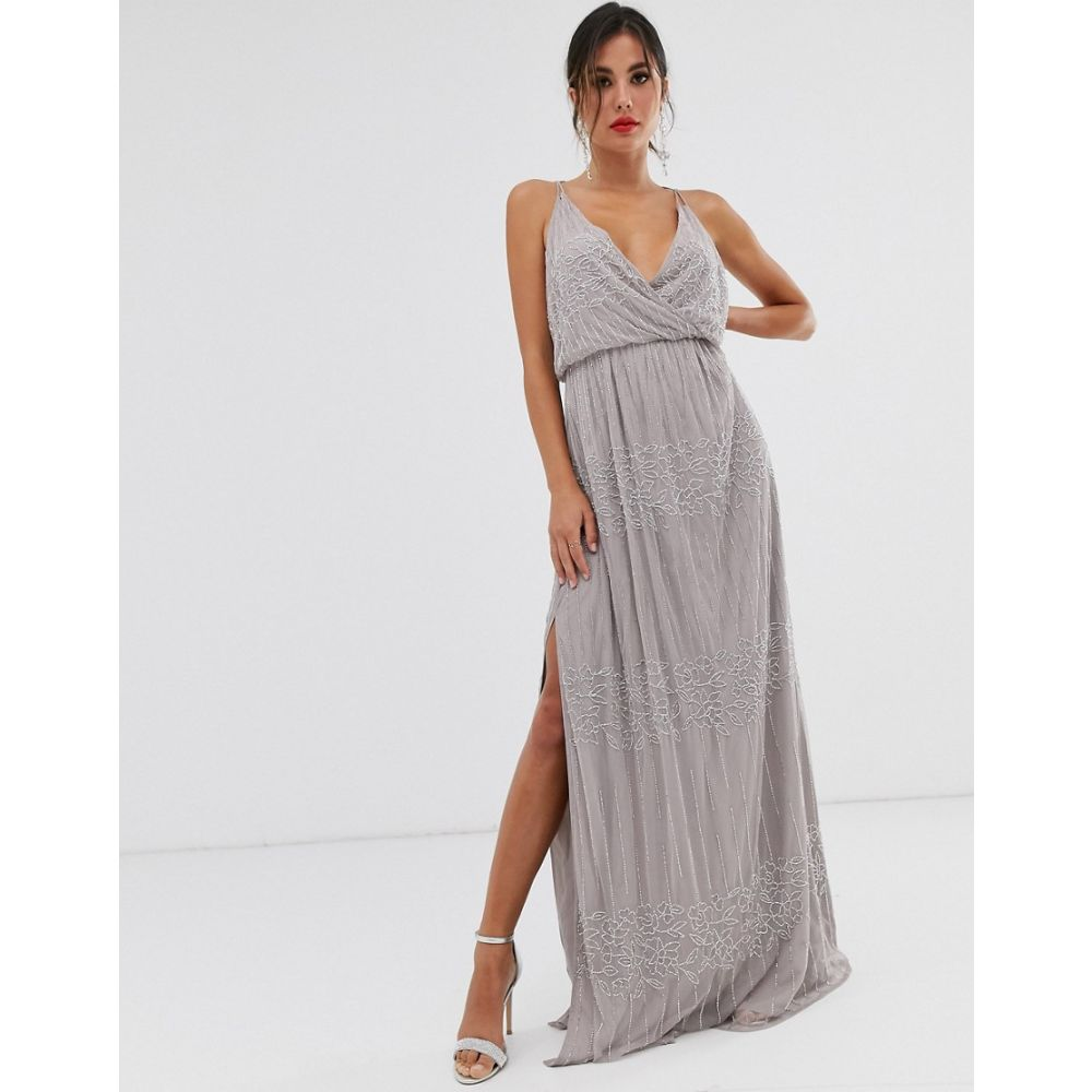 エイソス ASOS DESIGN レディース ワンピース・ドレス ワンピース【wrap bodice maxi dress in linear and floral embellishment】Soft grey