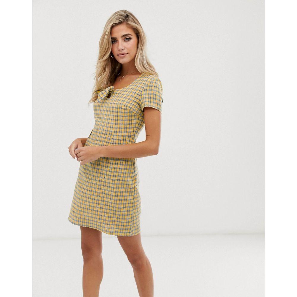 デイジーストリート Daisy Street レディース ワンピース・ドレス ワンピース【mini tea dress with bow front in check】Yellow check